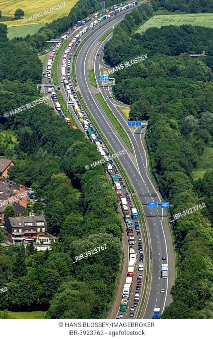 Traffic jam on the A43 motorway, aerial view, Recklinghausen, Ruhr Area, North Rhine-Westphalia, Germany