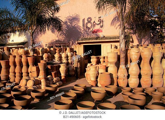 At the handycraft center of Ouljda, at a ceramist workshop. Rabat. Morocco