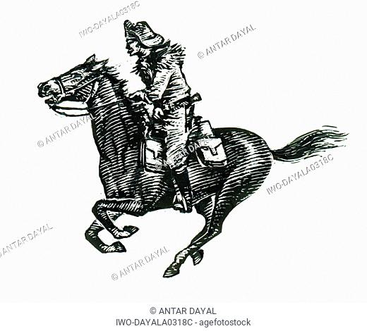 Cowboy on a galloping horse