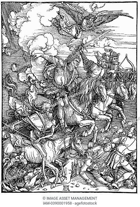 Four Horsemen of the Apocalypse, illustrating 'Bible' Revelation of St John  Archangel watches as four agents of destruction