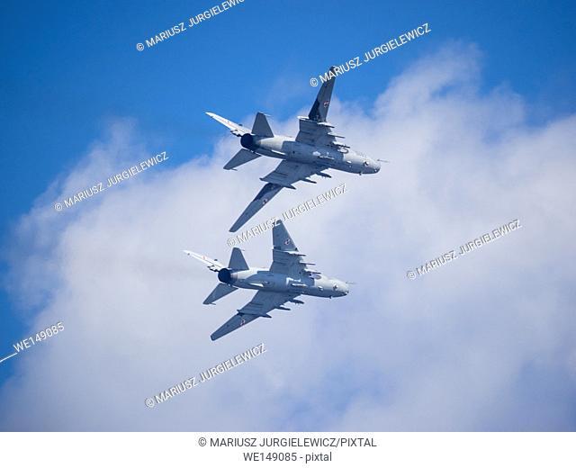 Su-22 fighter-bomber demonstration flight over Central Beach in Kolobrzeg, Poland