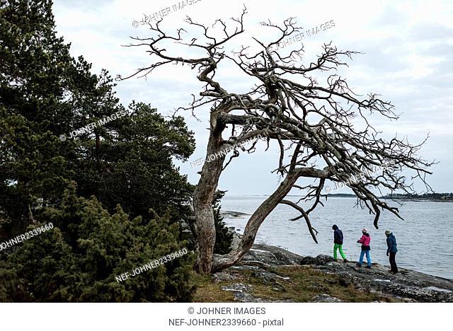 Tourists walking at lakeshore