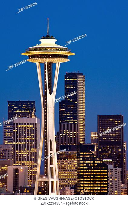 The Space Needle and downtown office buildings at twilight from Kerry Park on Queen Anne Hill Seattle, Washington