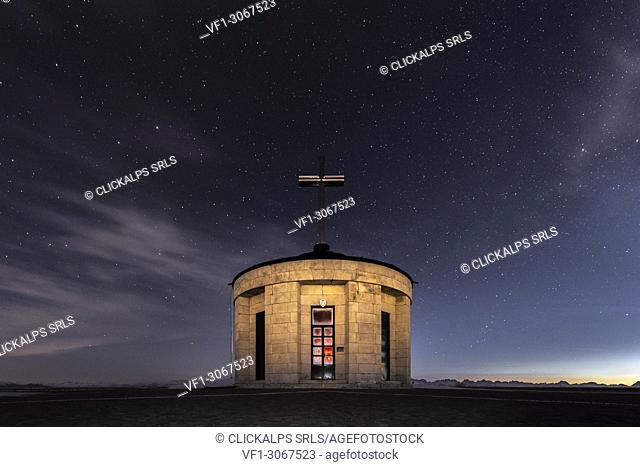 Monte Grappa, province of Vicenza, Veneto, Italy, Europe. On the summit of Monte Grappa there is a military memorial monument