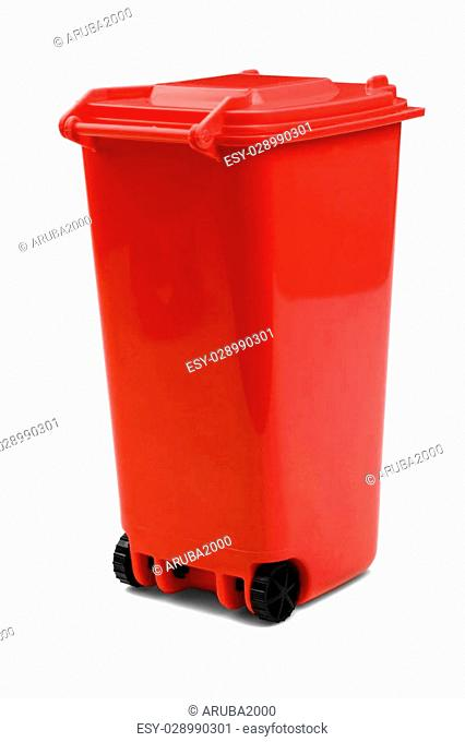 Red Plastic Waste Container Or Wheelie Bin, Isolated On White Vertical Background, Close Up