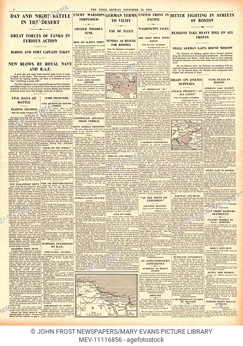 1941 page 4 The Times Battle for Libya and Battle for Rostov