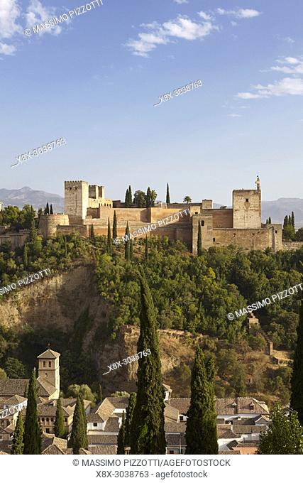 Panoramic view of the Alhambra with Sierra Nevada in the background, Granada, Andalusia, Spain