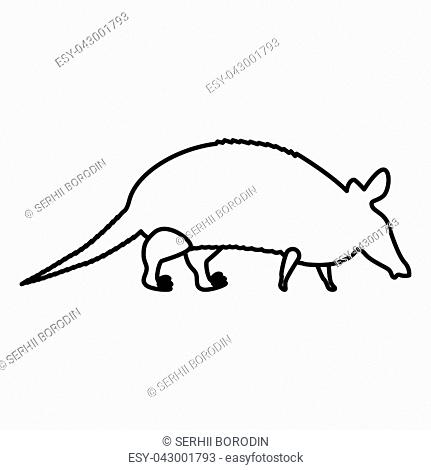 Armadillo icon black color vector illustration flat style simple image