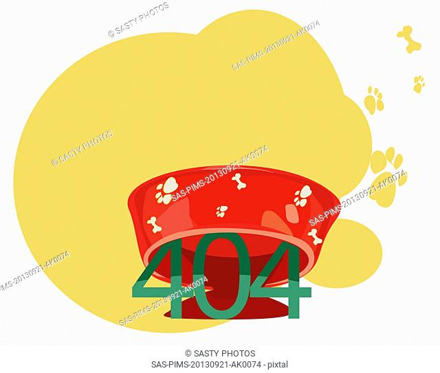 Illustrative representation of 404 error message under a dog bowl