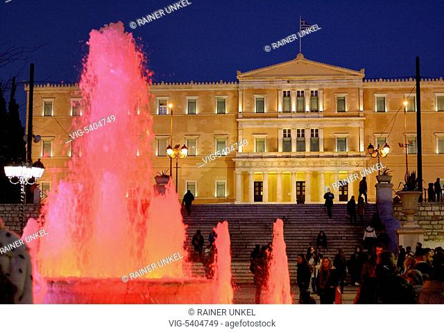 GRC , GREECE : The parliament at Syntagma Square in Athens , 06.02.2016 - Athens, Attica, Greece, 06/02/2016