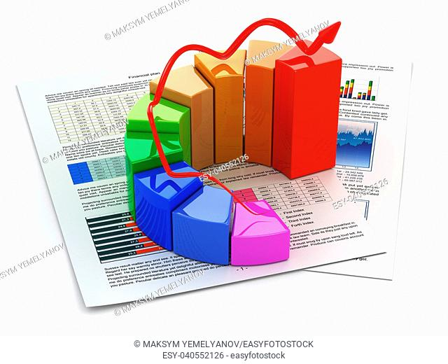 Business concept. Graph and business plan on white isolated background. 3d