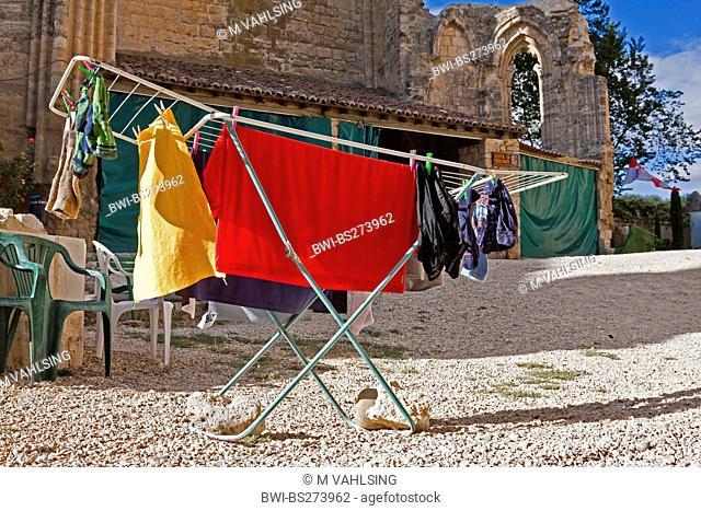 laundry of a pilgrim drying on a clothes horse in the ruins of Antonius church, Spain, Kastilien und Len, Burgos, San Anton