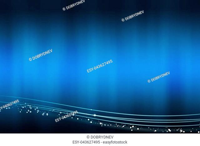 Abstract blue background with the light lines at the bottom - illustration