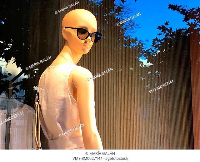 Mannequin in a shop window. Madrid, Spain