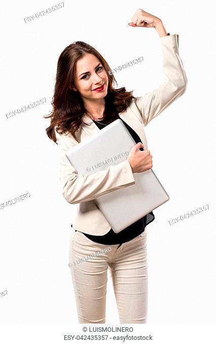 Lucky pretty young business woman with laptop