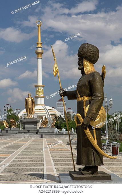Turkmenistan , Ashgabat City, Independence Park,Independence Monument and warriors