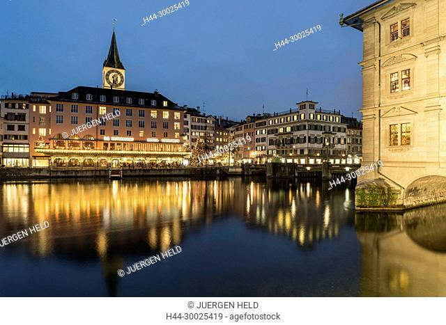 River Limmat, Hotel Storchen, St. Peters church, city hall, Zurich, Switzerland