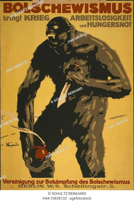 1918, Bolschewism brings war, unemployment, monster, bomb, starvation, Germany, Europe, Berlin, history, historical, h