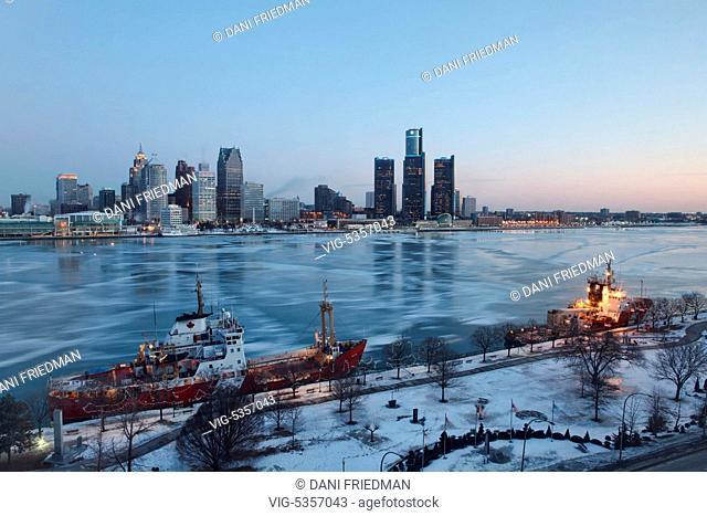 Windsor, Ontario, Canada. February 2014 --- Canadian Coast Guard icebreaker ships moored along the Detroit River by the city of Windsor, Ontario, Canada