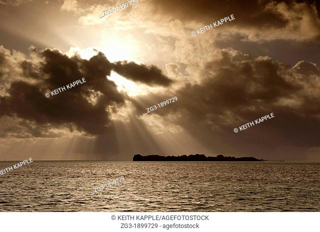 Sunbeams over the Florida Keys, Just after sunrise, Florida, USA