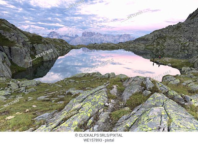 Brenta dolomites view from Lago Nero, Adamello Brenta natural park, Trento province, Trentino Alto Adige district, Italy, Europe