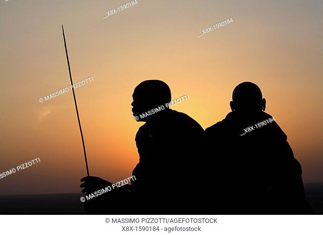 Silhouette of a Maasai men, Ngogongoro conservation Area, Tanzania