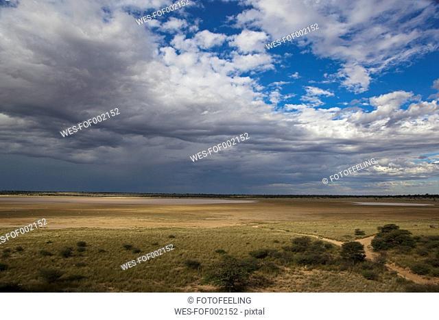 Africa, Botswana, Mabuasehube, View of Mabuasehube Pan with water