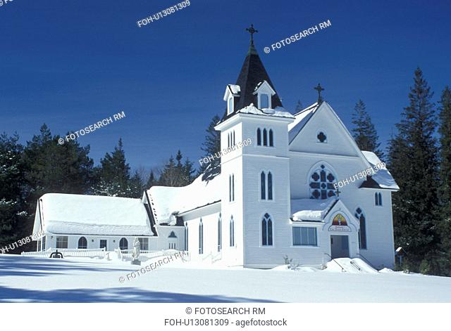 church, NH, New Hampshire, Shrine of our Lady of the Mountains at Bretton Wood in the winter