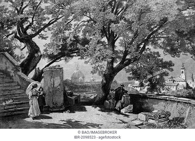 The Tasso's oaks in Rome, Italy, wood engraving, 1880