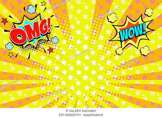 omg wow yellow orange rays pop art background. retro vector illustration vintage kitsch drawing