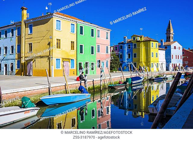 Burano island canal, colorful houses in the Venetian Lagoon. Burano, Venice, Veneto, Italy, Europe