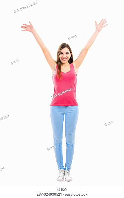 Beautiful woman with open arms isolated over a white background