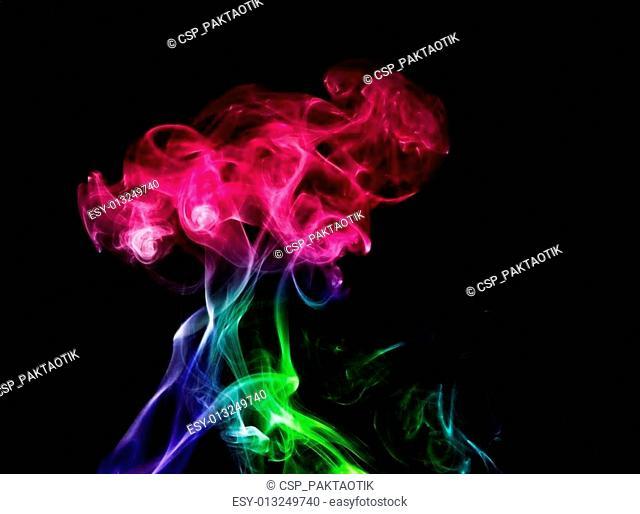 Abstract color smoke on black