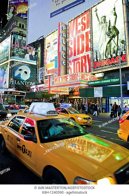 Night view of Times Square on Broadway in Manhattan New York City USA