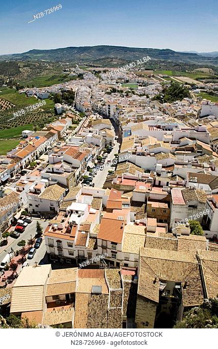 Olvera as seen from the Arab castle. Pueblos Blancos ('white towns'), Cadiz province, Andalucia, Spain