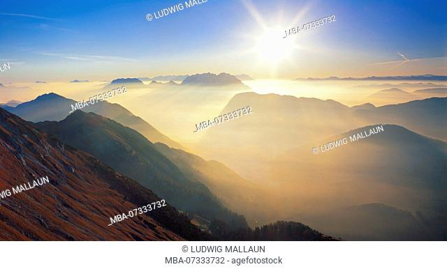Austria, Tyrol, Thiersee, sunrise at the rear Sonnwendjoch