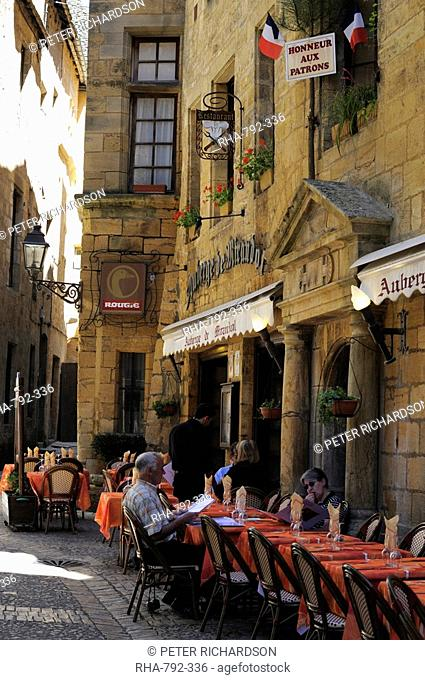 Restaurant in the old town, Sarlat, Dordogne, France. Europe
