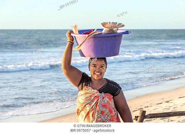 Malagasy woman carrying fish in a tub on her head, Morondava, Toliara province, Madagascar