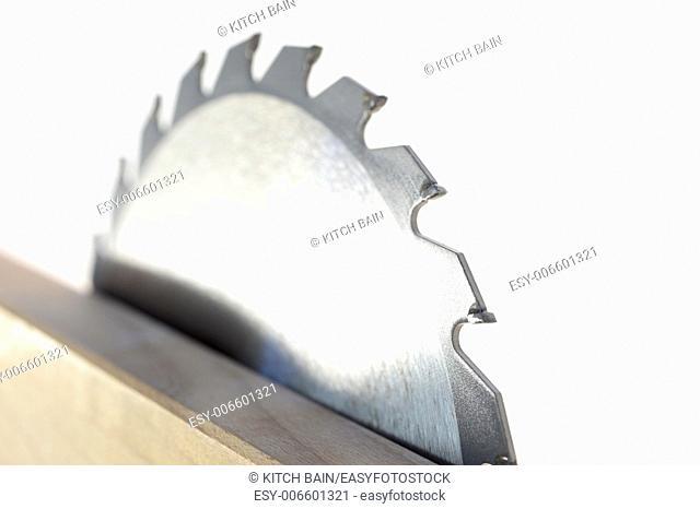 A close up shot of a circular saw blade
