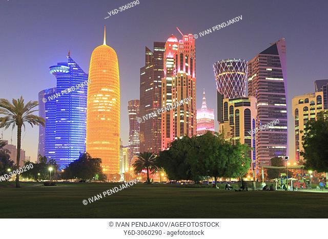 West Bay at Night, Doha, Qatar