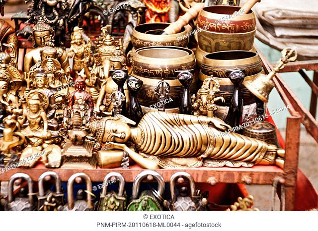 Display of a souvenir shop in a street market, Swayambhunath, Kathmandu, Nepal