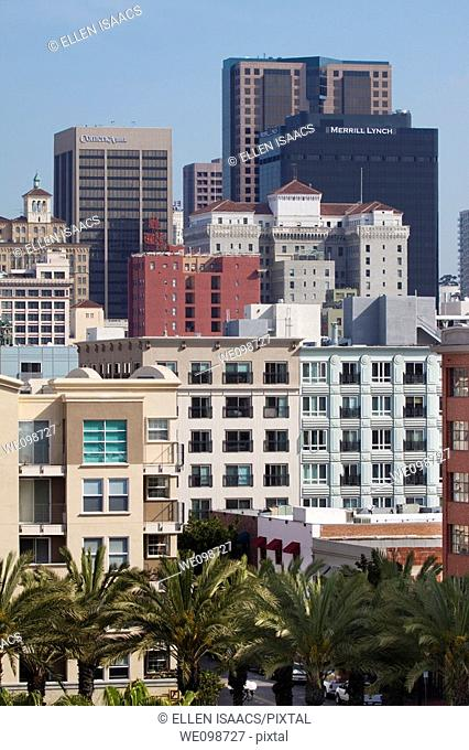 Commercial and residential buildings with palm trees in downtown San Diego, California, USA