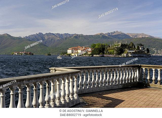 View of Isola Bella from the lakefront of Stresa, Lake Maggiore, Piedmont, Italy