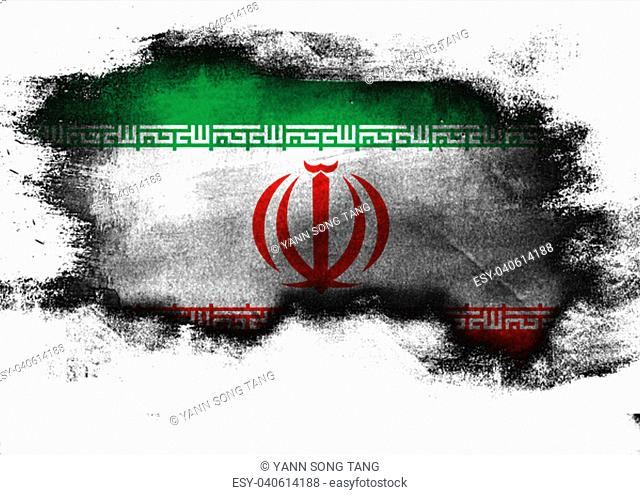 Iran flag painted with brush on white background, 3D rendering