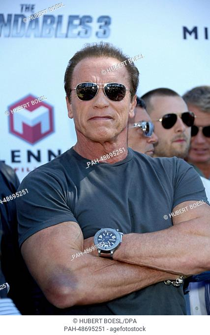 "Actor Arnold Schwarzenegger attends the photocall of """"Expandables 3"""" during the 67th Cannes International Film Festival in front of the Hotel Carlton in..."