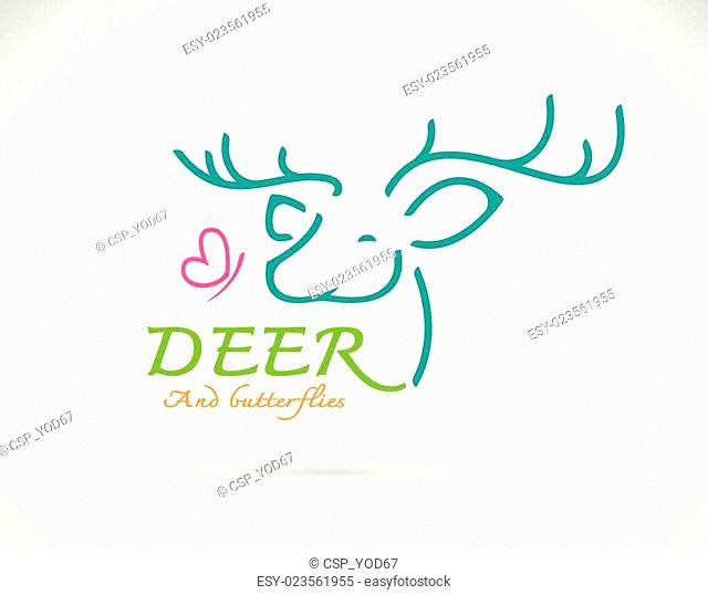 Vector image of deer and butterfly design and text on white background