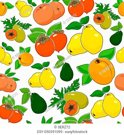 Fruit Berry Seamless Pattern, Juicy Peach and Sweet Apricot, Quince with Fresh Persimmon, Ripe Papaya and Avocado, Illustration