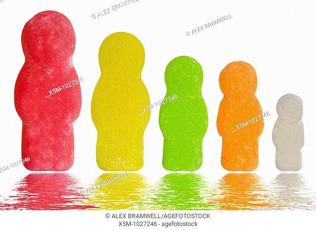 Conceptual Jelly baby shot showing a family of different sized jellybabies in a line