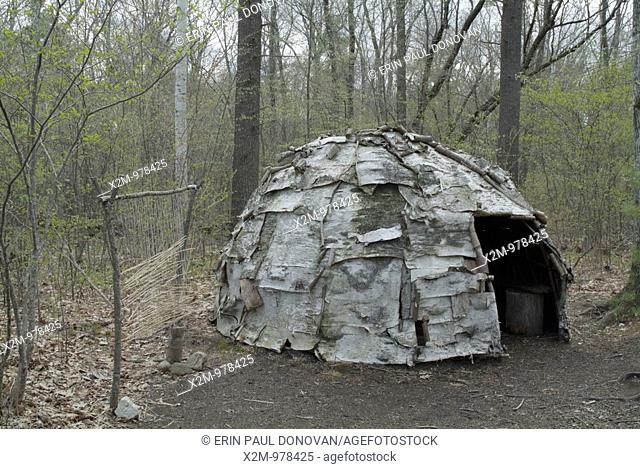 A wigwam at Sandy Point Discovery center  Located in Stratham, New Hampshire USA