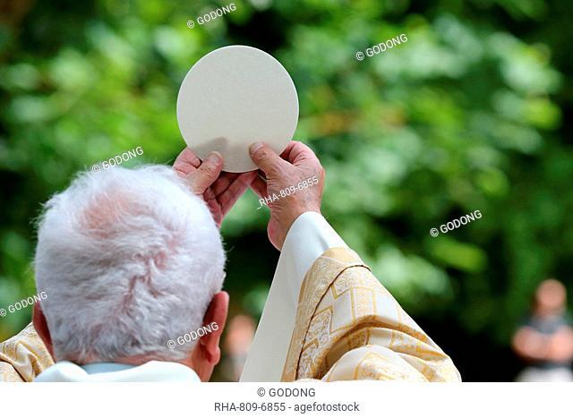 Eucharist, Catholic Mass, Sanctuary of La Benite Fontaine, La-Roche-Sur-Foron, Haute-Savoie, France, Europe